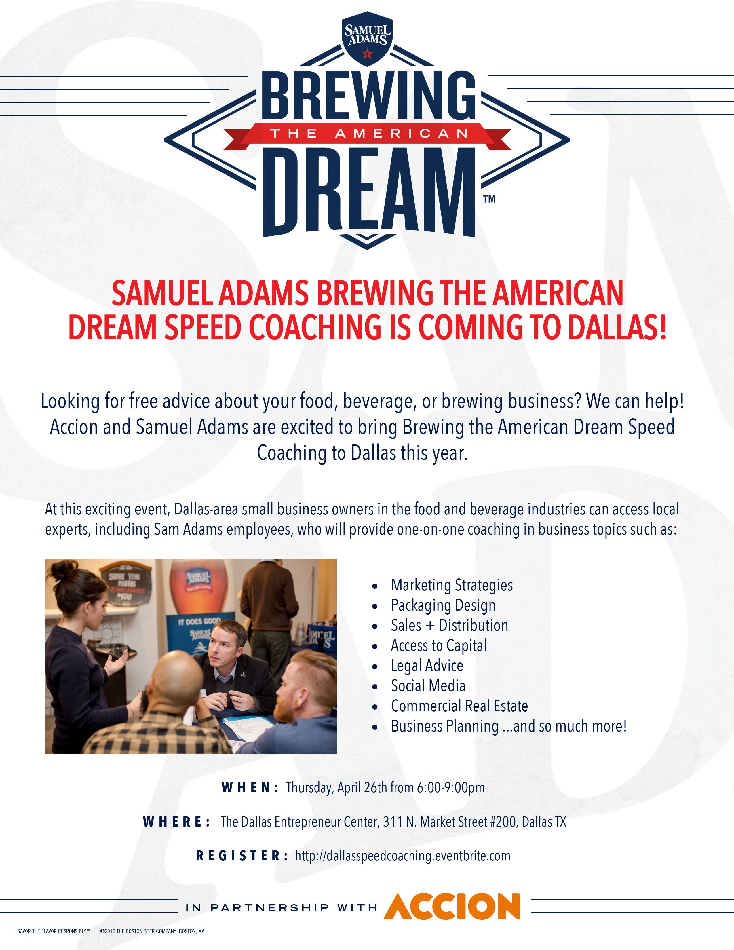 Accion DEC Sam Adams Food Industry Speed Coaching Event Dallas