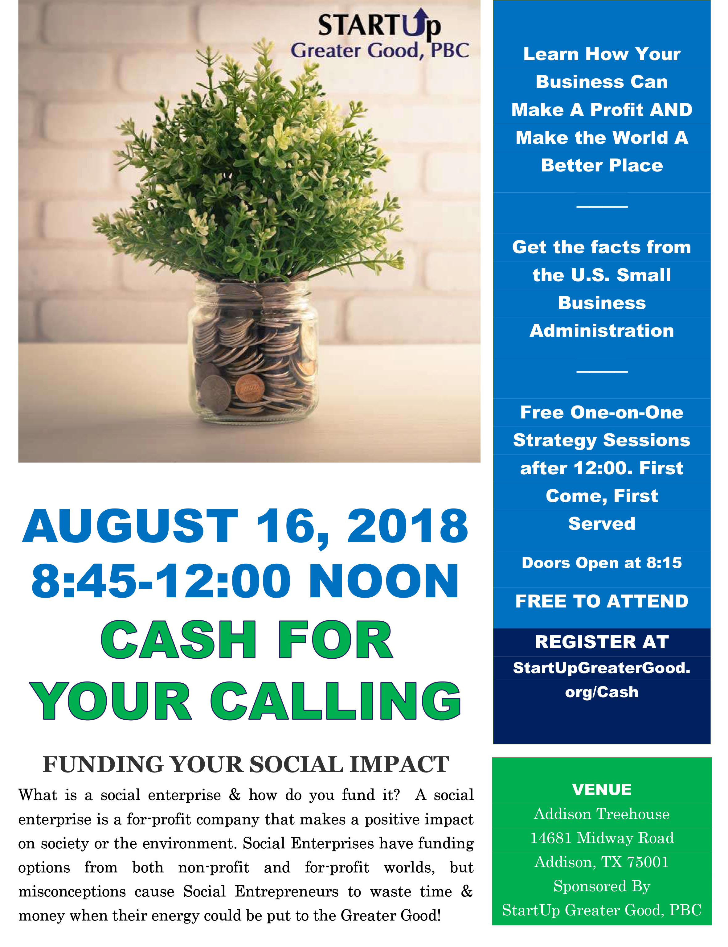 Cash For Your Calling – Funding Your Social Impact – August 16